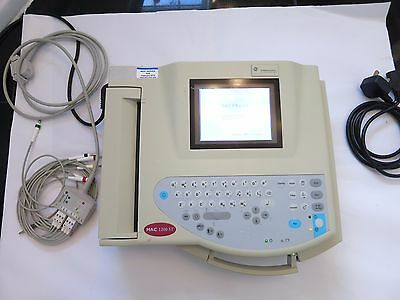 Ge Marquette Mac 1200 St Ecg Machine Cardiograph Patient Monitor Leads Printer