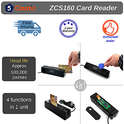 ZCS160 4-in-1 Magnetic Credit Card Reader & Writer+  IC Chip RFID PSAM EMV