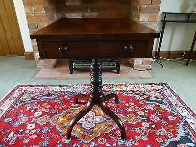 BEAUTIFUL 19thc FIGURED MAHOGANY SPIDER LEG REGENCY WRITING SIDE TABLE