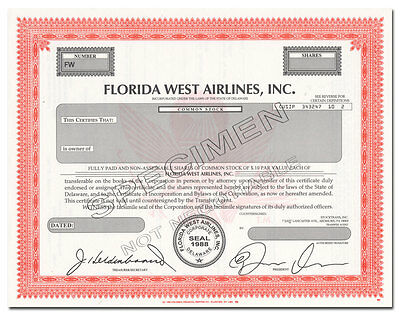 Florida West Airlines, Inc. Stock Certificate
