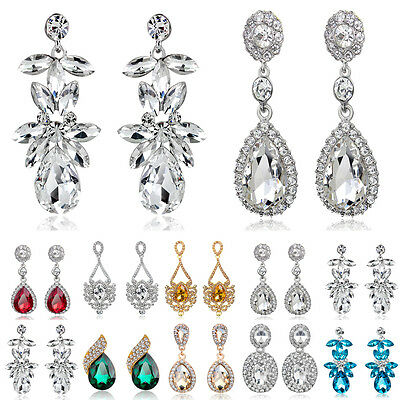 Luxury Bridal Floral Women Ladies Diamante Dangle Earrings Wedding Prom Gifts