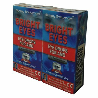 Ethos Bright Eyes Eye Drops for AMD. Two boxes includes 4 x 5ml bottles.
