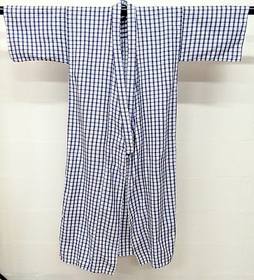 Vintage Japanese Kimono Long Robe Wrap Oriental Size Medium Blue White Check
