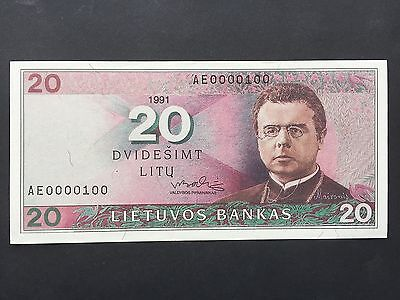 Lithuania 20 Litu P48 Low Serial Number AE0000100 Dated 1991 Uncirculated UNC