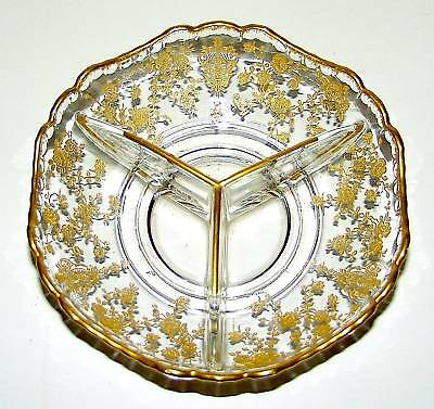 """Cambridge Gold Encrusted Rose Point 3500/69 Relish 6.5"""""""