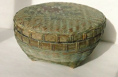 Vintage Antique Primitive/folk Art Chinese Round Hand-Woven Basket Signed