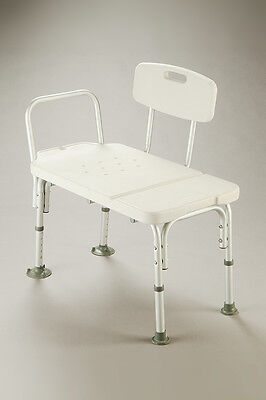 CQ Transfer Bench Curved Backrest Adjustable Height Heavy Duty Soap Dish & Rails