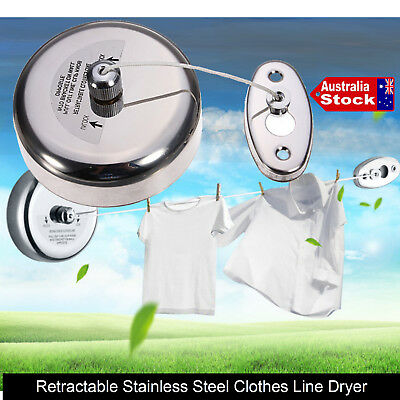 Stainless Steel Retractable Single Line Clothes Line Laundry Indoor Outdoor