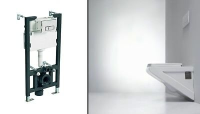 Concealed Wall Hung Steel Toilet Frame + WC Pan + Cistern + Chrome Flush Plate