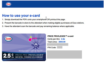 ESSO Price Privileges Fuel Savings E-Card Save 2.5 Cents/Litre on 2000L ($50.00)