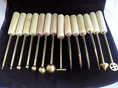 14 New Brass High Quality Handmade Millinery Flower Making Tools Wooden Handles
