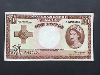 Malta 1 Pound P24b Signed Shepherd QE2 Issued 1954 (law 1949) aUNC UNC