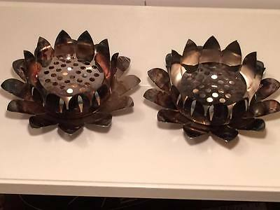 Pair of Birks Silver Plate Lotus 3Piece Flower Frogs made Italy for Birks Canada