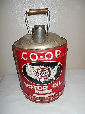 Rare Vintage 1920's CO-OP MOTOR OIL 5 Gallon Pour Can Pacific Supply Cooperative