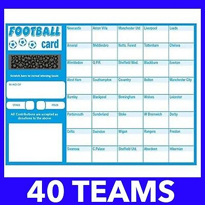50x Charity Fundraising Football Scratch Cards - 40 Team