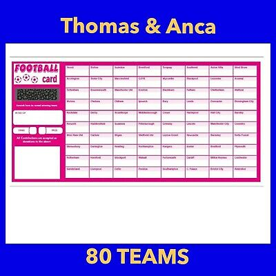 100x Charity Fundraising Football Scratch Cards - 80 Team