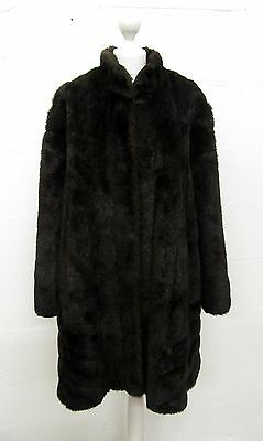 VINTAGE 70s BOHO DARK BROWN FAUX FUR LONG JACKET COAT PLUS SIZE 20