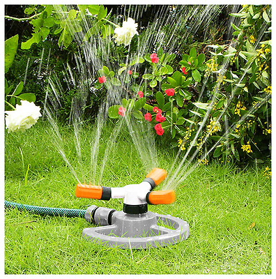 Rotating Sprinkler Lawn Garden Grass Watering System Adjustable Angles 3 Arm
