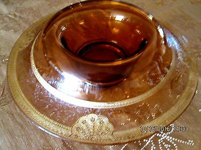 Large Ember Glass Bowl Decorated with Gold painted and Engraved Ornaments