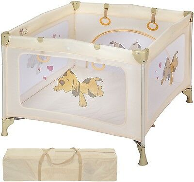 Baby Portable Playpen Travel Cot Child Infant Bed Crawl Play Sleep Beige Stable