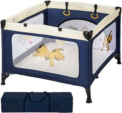 Baby Portable Playpen Infant Blue Child Travel Cot Bed Crawl Play Sleep Stable