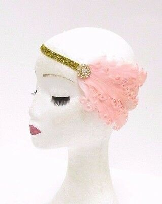 Blush Light Pink Gold Feather Headband 1920s Flapper Headpiece Great Gatsby 2800
