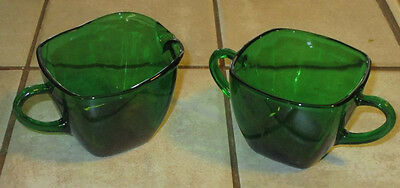 Anchor Hocking Forest Green Square Sugar & Creamer
