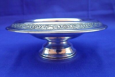 Antique A.s. Co Sterling Silver Weighted Pedestal Candy Nut Dish 102.5 Grams