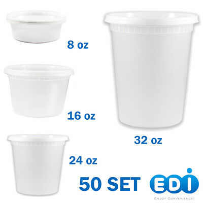 50 sets - 8, 16, 24, or 32 ounce Round Deli Containers Microwavable with Lids