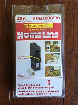Square D HOM120GFICP Homeline 20-Amp 1-Pole Ground Fault Circuit Breaker, NEW!
