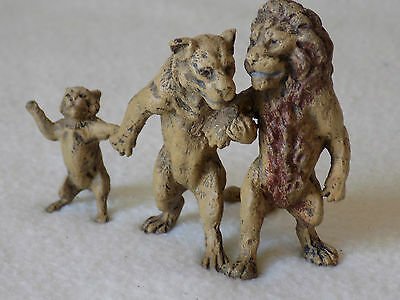 Bergman Style Cold Painted Bronze  -   Lion Family