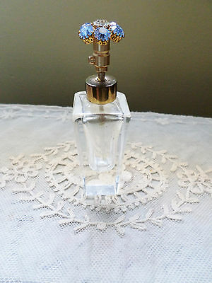 Vintage Cut Glass Perfume Bottle With Gorgeous Blue Rhinestone Atomizer