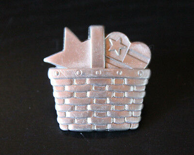 Longaberger Pewter Pin - Basket with Star, Heart - Patriotic, Stars & Stripes