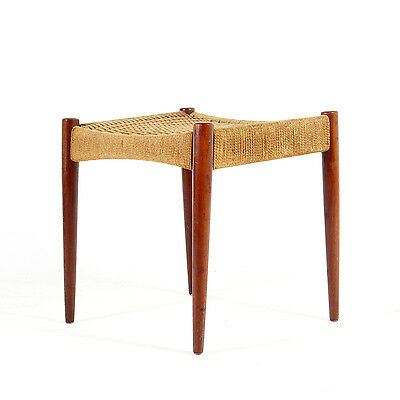 Retro Vintage Danish Teak Papercord Foot Stool Piano Chair Ottoman 50s 60s 70s