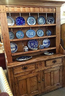 "Antique Primitive Hutch Cuboard Cabinet Pine 78"" High Better In Person"