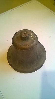 "VINTAGE LARGE SOLID BRASS BELL WITH NO CLAPPER 7"" diameter"