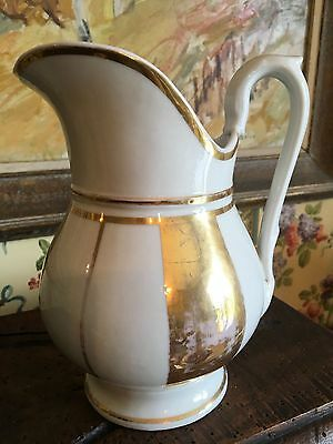 French White Paris Porcelain Water Jug Pitcher Gold Gilt Early 1900s