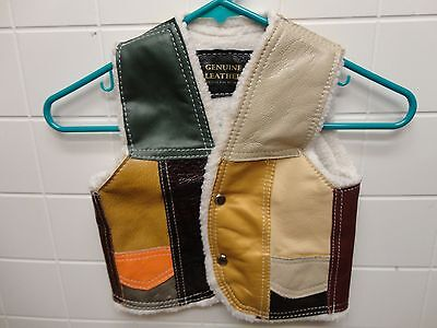 Vintage Genuine Leather Patch Work Kids Vest - Medium