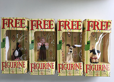 "Four Vintage ""Wallace and Gromit"" Typhoo Tea Figurines: Wallace, Gromit, Shaun"