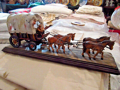 """Rare Anri Wood Carved """"COVERED WAGON w/4 HORSES AND DRIVER"""" 16"""" Italy KH"""