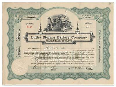 Luthy Storage Battery Company Stock Certificate