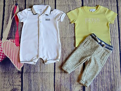 Hugo Boss Baby Boy Designer Summer Clothes Bundle Romper/Shortie Polo F&F Jogger