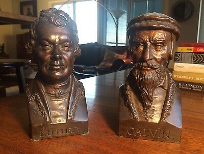 MARTIN LUTHER-AN & JOHN CALVIN-ISM 2 BRONZE BUSTS Protestant Institutes Statue