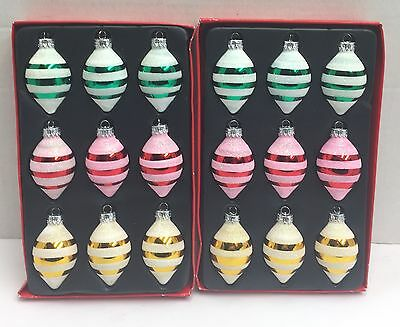 Glass Christmas Ornaments Candy Stripe Tear Drop Red Green Yellow Glitter Rite A