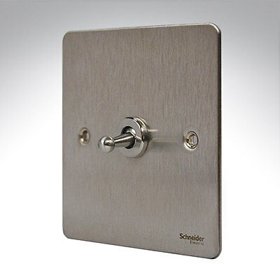 GET Schneider Ultimate Flat Plate Toggle Switch 1G 2W 10a Stainless Steel Switch