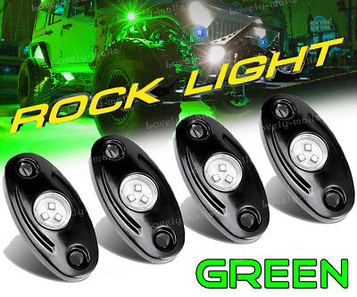4x Green CREE LED Rock Light SUV Offroad Truck Under Trail Rig Light For Hummer