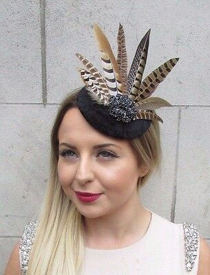 Black Brown Pheasant Statement Feather Fascinator Pillbox Races Hat Ascot 2828
