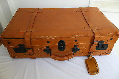 VINTAGE XL LEDER Koffer Reisekoffer Oldtimer Braun LEATHER Travel Bag Suitcase