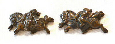 Antique Japanese Sword Menuki Pair Bronze Old Wise Men In Robes Riding Horses