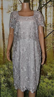 Jacques Vert Platinum Grey Lace Dress, Size 20. BNWT